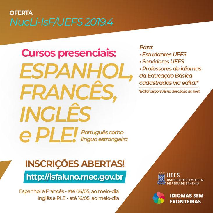 Inscrições abertas para cursos presenciais de idiomas na UEFS